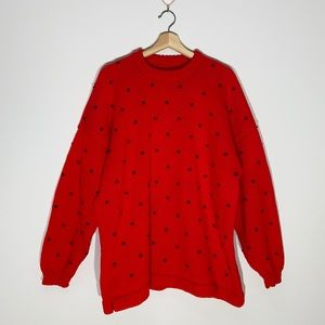 Handmade Red Knit Crewneck Sweater with Beads